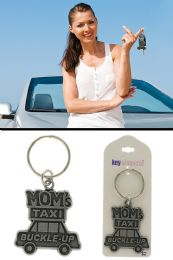 96 Wholesale Moms Taxi Buckle Up Funny Key Chain