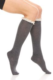 24 Bulk Yacht & Smith 100% Cotton Womens Knee High Socks With Lace Trim, Size 9-11 Assorted Colors