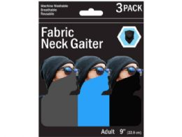 90 Units of 3 Pack Solid Neck Gaiter 3 Asst Colors - Sporting and Outdoors