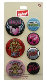 60 Wholesale 7 Pins With Sayings On A Card