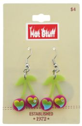 60 Wholesale Silver Tone Heart Shaped Cherry Earrings Assorted