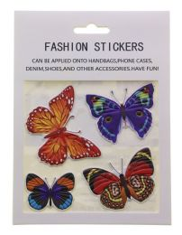 96 Wholesale Butterfly Fashion Puff Stickers