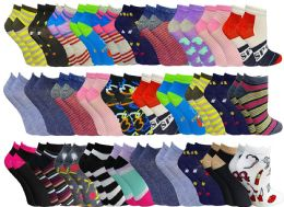 60 of Womens Colorful Assorted Lightweight Low Cut Ankle Socks, Size 9-11