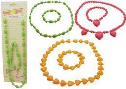 96 Wholesale Childrens Multi Colored Necklace Bracelet Set