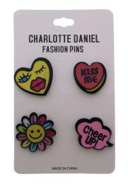 96 Wholesale Happy Pin Set