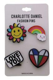 96 Wholesale Rainbow Color Pin Assortment