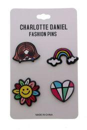 96 Wholesale Rainbow Colors Pin Set