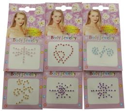96 Wholesale Crystal Tattoo In Assorted Color