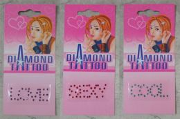 96 Wholesale Temporary Crystal Tattoos Assorted Color