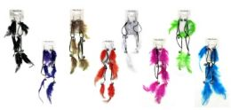 48 Wholesale Dangle Earrings With Feathers And Marble Beads