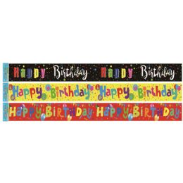 96 Wholesale Birthday Foil Banner In Yellow