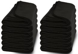12 Bulk Yacht & Smith Large 90x60 Warm Fleece Blanket, Soft Warm Compact Travel Blanket Solid Black
