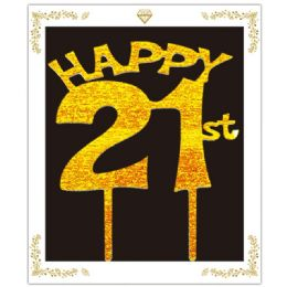 72 Wholesale Happy 21 Birthday Topper In Gold