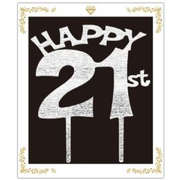 72 Wholesale Happy 21 Birthday Topper In Silver