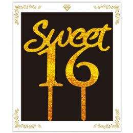 72 Wholesale Sweet Sixteen Cake Topper In Gold