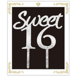 72 Wholesale Sweet Sixteen Cake Topper In Silver