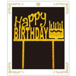 72 Wholesale Birthday Cake Topper In Gold