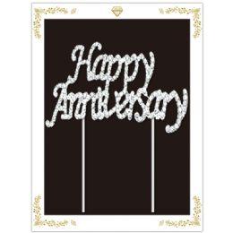 48 Wholesale Happy Anniversary Rhinestone Cake Topper