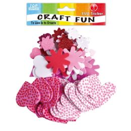 96 Units of Eva Craft Flowers - Valentine Cut Out's Decoration