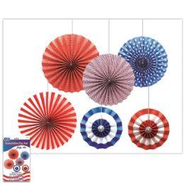 24 Wholesale July Fourth Fan Decoration Set