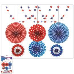 24 Wholesale July 4th Decoration Fan Set