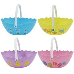 72 Wholesale Oval Plastic Easter Bucket In Mixed Color