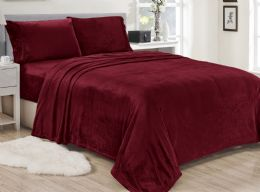 12 Units of Lavana Soft Brushed Microplush Bed Sheet Set Twin Size In Burgandy - Bed Sheet Sets