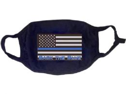 24 Wholesale Face Cover Back The Blue Usa Flag All Black