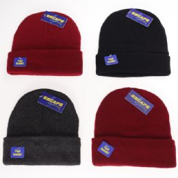 12 Units of Kids Solid Cuffed Sherpa Lined Hat - Junior / Kids Winter Hats