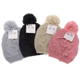 12 Units of Alexa Rose Girls Cable Hat With Lurex And Pom Assorted - Junior / Kids Winter Hats