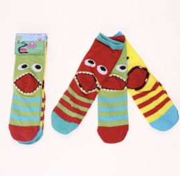12 Units of Infant And Toddler Monster Face Socks - Baby Apparel