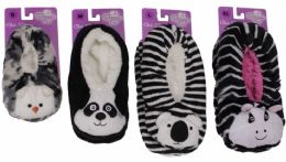 36 Wholesale Kids Snuggle Feet Sherpa Slipper With Animal Face