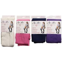 24 Units of Alexa Rose Girls Fleece Lined Leggings Assorted Colors - Girls Leggings