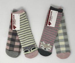 24 Units of Girls 2 Pack Designer Socks Pinks And Grays - Girls Crew Socks