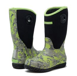 12 Units of Kids Premium High Performance Insulated Rain In Green Digi Camo - Boys Boots