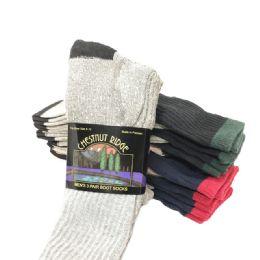 24 Bulk Mens 3 Pack Boot Sock Assorted Colors