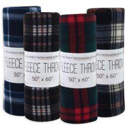 "24 Bulk Plaid Fleece Blankets 50"" X 60"" - Assorted Colors"