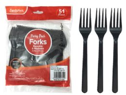 72 Wholesale Plastic Fork 51 Piece Pack Black Color