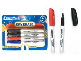 144 Units of 4 Piece Dry Erase Markers 3 Assorted Color - Dry erase