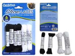 144 Units of Shoe Laces 6 Pair Black And White Color - Footwear & Shoes