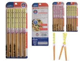 96 Units of 5 Pair Printed Bamboo Chopsticks - Kitchen Gadgets & Tools