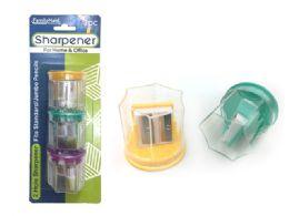 144 Bulk Sharpener 3 Piece 2 Blade With Container
