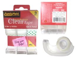 96 Units of 3 Piece Clear Tape - Tape & Tape Dispensers
