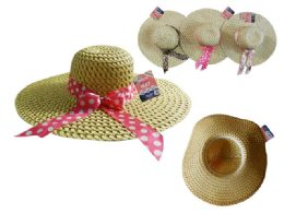 144 Units of Women's Straw Hat One Size Fits Most 3 Colors - Sun Hats