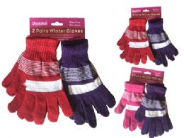 144 Units of Gloves 2 Pair Assorted - Kids Winter Gloves