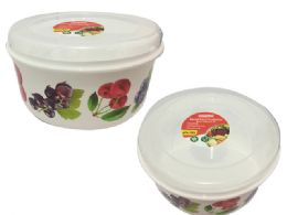 48 Units of Round Printed Food Container - Food Storage Containers