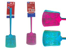 48 Units of 3 Piece Jumbo Fly Swatters In Assorted Colors - Pest Control