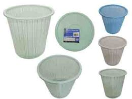 24 Units of Plastic Trash Can With Dust Pan - Waste Basket