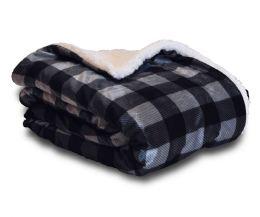 12 Bulk Mink Sherpa Ultimate Blanket 50x60 Charcoal Plaid