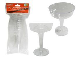 48 Wholesale 6 Piece Plastic Champagne Glasses